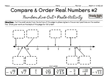 Compare & Order Real Numbers on a Number Line Cut & Paste Activity