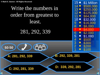 Compare Order Round Numbers Review Game