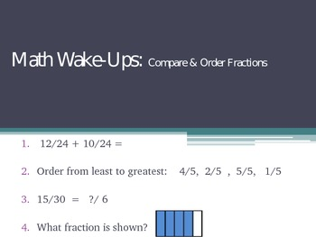 Compare & Ordering Fractions Bellwork