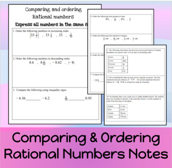 Compare/Ordering Rational numbers