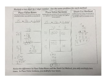 Compare: Place Value Sections, Place Value Rows & Shortcut Method