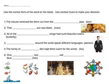 Compare Possessive Nouns and Plural Nouns