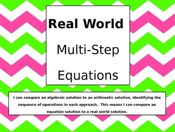 Compare Real World Arithmetic Solution to Algebraic Soluti
