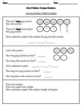 Compare Situations with Counters worksheet