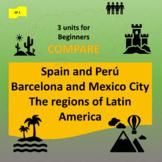 Compare: Spain + Peru (1); Barcelona + Mexico City (2); LA