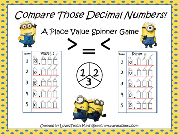 Compare Those Decimal Numbers!  A Place Value Spinner Game