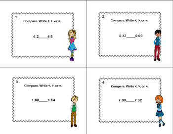 Compare Two Decimals to Hundredths-Using < ,>, or = Task Cards- Students  -CCSS