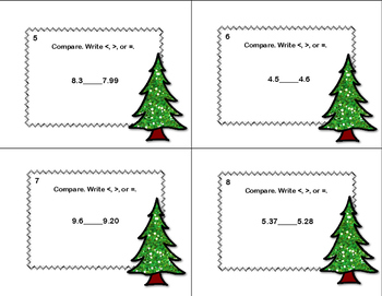 Compare Two Decimals to Hundredths-Using < ,>, or = Task Cards- Winter  -CCSS
