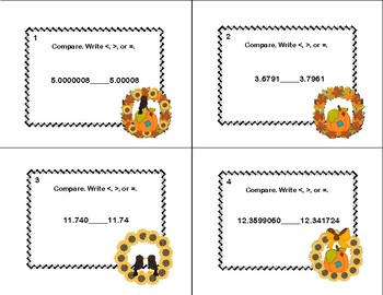 Compare Two Decimals to Thousandths-CCSS.5.NBT.A.3.B-Grade 5 Math Task Cards