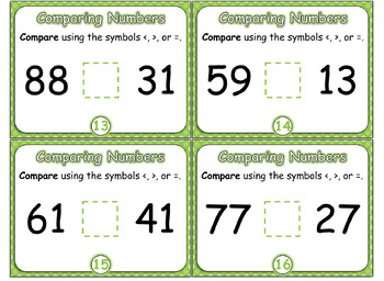 Compare Two-Digit Numbers Task Cards