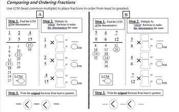 Compare  and Order Unlike Fractions and Mixed Numbers