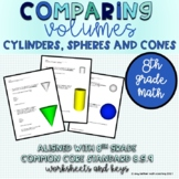 8th Grade Compare Volumes of Cylinders, Cones and Spheres
