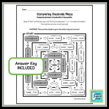 Compare Whole Numbers & Decimals Maze Bundle