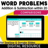 Compare Word Problems Addition & Subtraction within 20 Dig