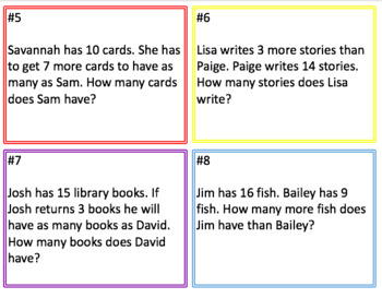 Compare Word Problems Task Cards
