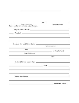 Compare and Constrat Essay Sentence Frame