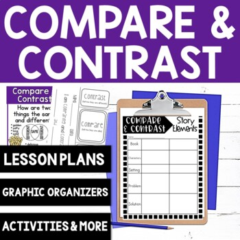 Compare and Contrast Lesson Plan, Posters, Mini-Lesson and 12 graphic organizers