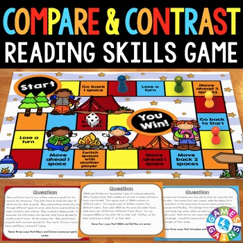 Compare and Contrast Task Card Game {Reading Comprehension Passages & Questions}