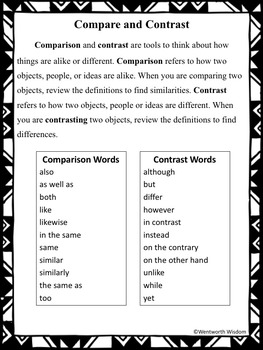Compare and Contrast Literacy and Writing Center Activities