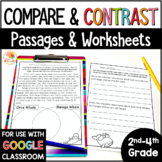 Compare and Contrast Passages and No Prep Worksheets