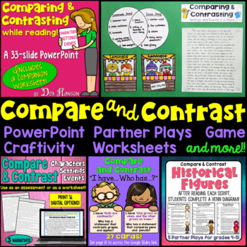 Teach your students to compare and contrast characters, settings, and events by using this bundle of compare and contrast activities.