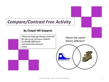 Compare and Contrast Activity with Shoes--Great for Language Therapy