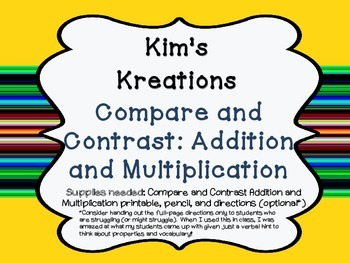 Compare and Contrast: Addition and Multiplication (Venn Diagram)