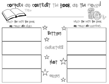 Compare and Contrast Book and Movie Worksheet
