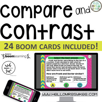 Compare and Contrast ~ Boom Cards 24 questions, grades 2-4 Distance Learning