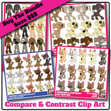 Compare & Contrast Clip Art Puppy, Kitten BUNDLE - 4 Sets, 60 Color Images + B&W