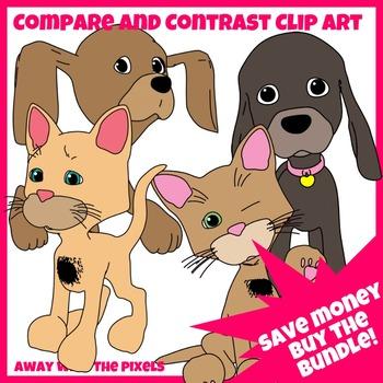 Compare & Contrast Clip Art Puppy, Kitten BUNDLE - 4 Sets, 60 Color Images + B&W