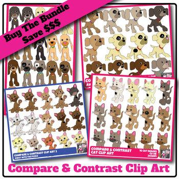 Compare & Contrast Clip Art Puppy, Kitten BUNDLE - 4 Sets,