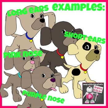 13 Puppy Clip Art for Comparisons, Comparatives, Superlatives Set3