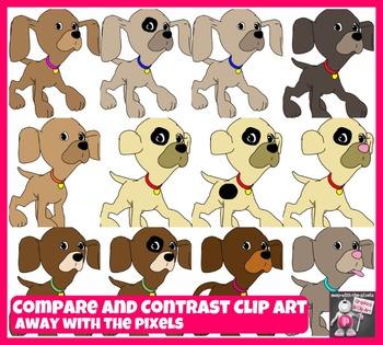 13 Puppy Clip Art for Comparisons, Comparatives, Superlati