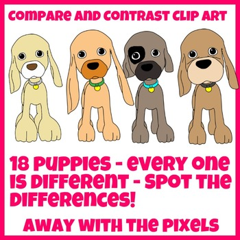 18 Puppy Clip Art for Comparatives, Superlatives, Comparisons Set 4