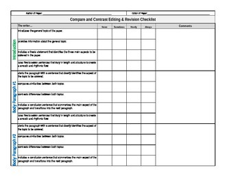 compare and contrast essay editing checklist by lovable literacy compare and contrast essay editing checklist