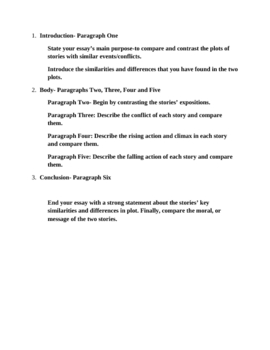 Compare and Contrast Essay Lesson and Handouts 6-9 grades