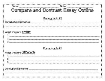 Compare and Contrast Essay Outline, Checklist, Rubric