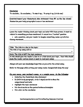 Compare and Contrast Essay Planner (for informational writing)