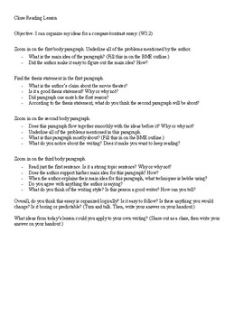 Compare and Contrast Essay Prompt with Reteach Lesson