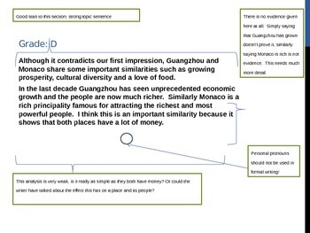 Compare and Contrast Essay Run through with graded examples.