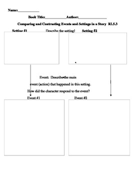 Compare and Contrast Events and Settings Graphic Organizer RL5.3