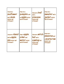 Compare and Contrast Fall Vocabulary Activity