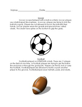 Compare and Contrast Football/Soccer 2 Texts