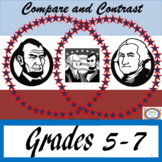 Compare and Contrast George Washington-Abe Lincoln Venn & Task Cards