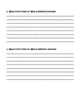 Compare and Contrast Graphic Organizer - WRITING