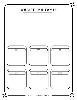 Compare and Contrast Graphic Organizer for Speech Therapy