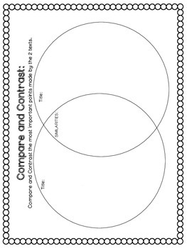Compare and Contrast Graphic Organizers