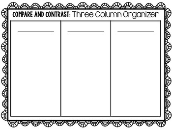 Set of 5 Compare and Contrast Graphic Organizers