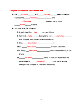 Compare and Contrast Guided Notes, Format, and Topics